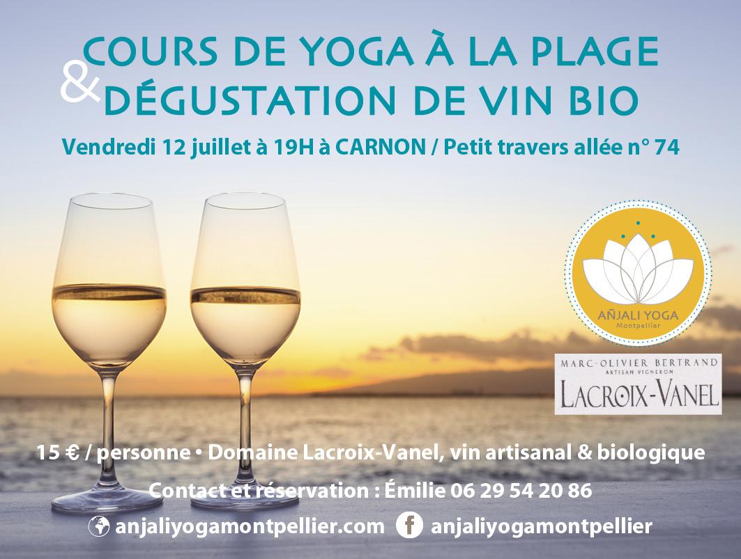 Cours yoga Carnon+dégustation de vin