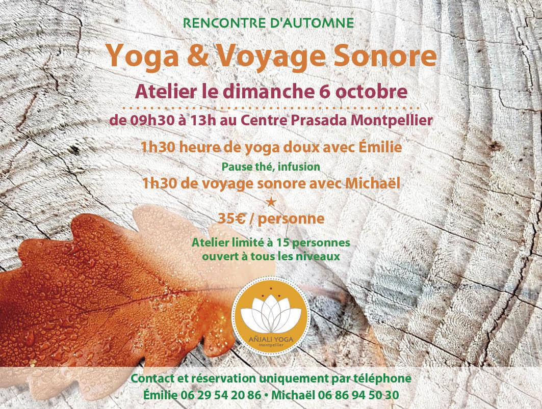 Atelier yoga Montpellier voyage sonore octobre 2019