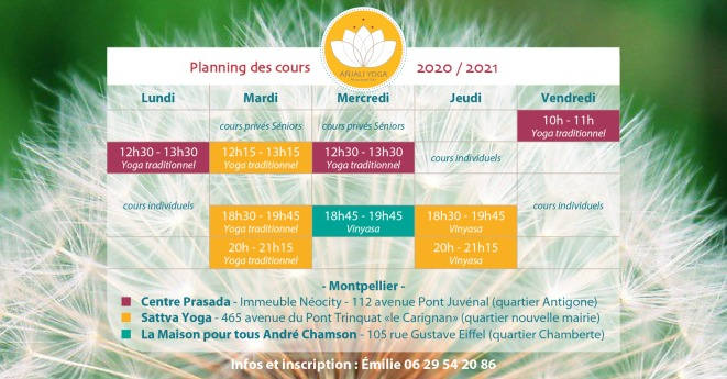 Cours Yoga Montpellier planning 2020-2021