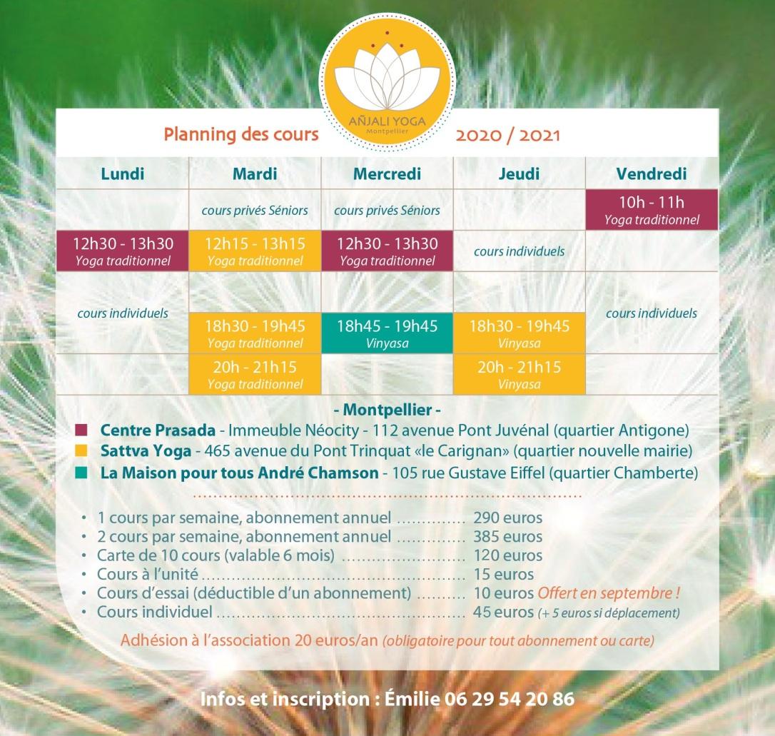 Yoga planning MONTPELLIER 2020 2021